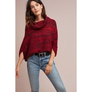 Moth | Anthropologie Marla Poncho Cowl Neck Red